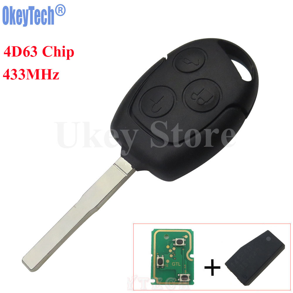 OkeyTech 3 Button Remote Key Fob 433MHz 4D63 Chip for Ford Focus Fiesta Mondeo Galaxy C-Max S-Max Focus Car Auto Replacement Key