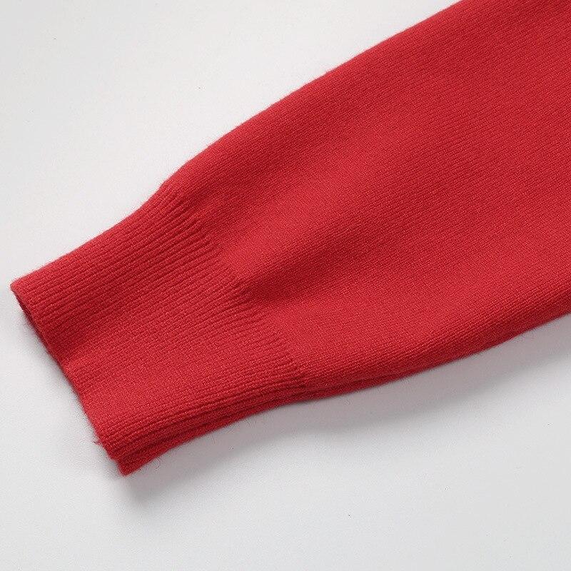 À De Noir Longues Q487 2019 Tricoté Printemps Femmes Décontracté Automne Pull Imprimer cou Chandail rouge Chaude Animaux Manches Mode Tricots Porc O Hauts SxC7q1x0nw