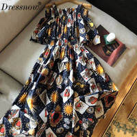 High Quality party long dress women summer fashion print dress sexy strapless dress