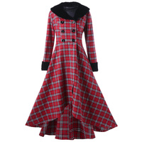 LANGSTAR 2017 Fashion Autumn Winter Plus Size 5XL Outwear Women Casual Double Breasted Checked Plaid Swing