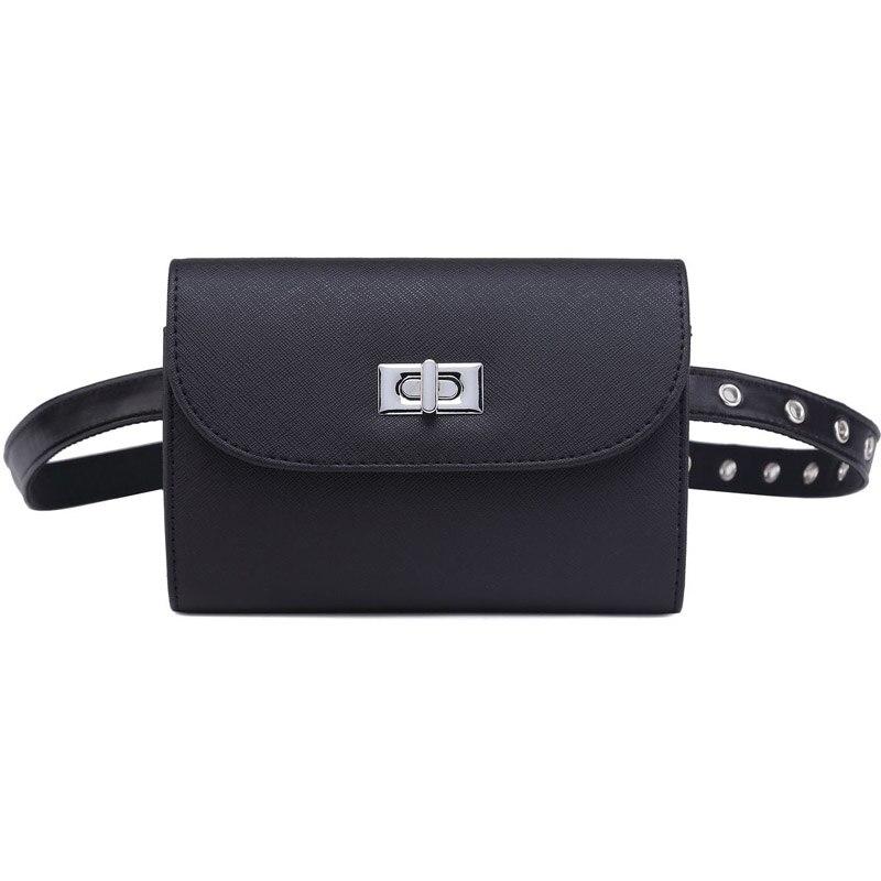 3823b329abe Annmouler Brand Waist Bags Pu Leather Fanny Pack Black Adjustable Women  Waist Packs Fashion Hip Bag for Girls Small Bum Bag