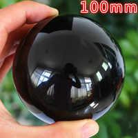 100 มิลลิเมตรหายากธรรมชาติสีดำ Obsidian Sphere ขนาดใหญ่คริสตัลบอล Healing Stone HITM ควอตซ์ลูกบอลคริสตัลฟรีเพื่อส่งคริสตัลฐาน