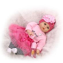 22 inch 55 cm baby reborn Silicone dolls, lifelike doll reborn Red rose princess dress cute doll