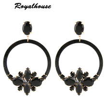 Royalhouse Drop Resin Earrings Brand Crystal Big Earring Flowers Large Long Brinco Ear Accessories Oorbellen wedding earrings цена в Москве и Питере