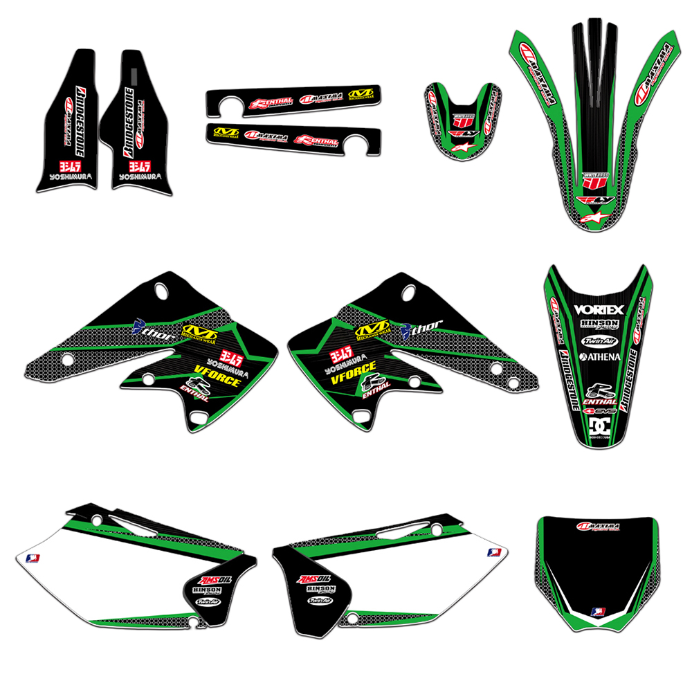 New Style Motorcycle GRAPHICS BACKGROUNDS DECALS STICKERS Kits For Kawasaki KX250F KXF250 2004 2005 KXF250 KX