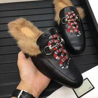Men's Princetown Leather Slippers Fur lined Bee Mule Genuine Leather Slip on Loafers Embroidered Shoes