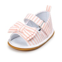 Pink Baby Shoes Infant Toddler Newborn Pram Crib First Walkers Summer Striped Soft Rubber Soled Outdoor