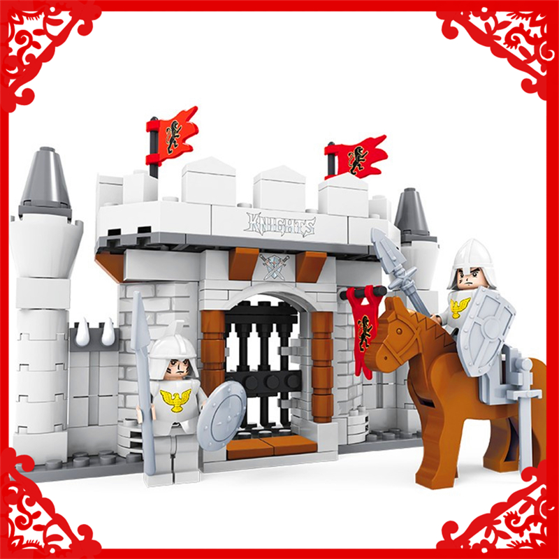 JOYTOWN 27403 Knight Castle The King Tribe Building Block 174Pcs DIY Educational  Toys For Children Compatible Legoe keys to the castle