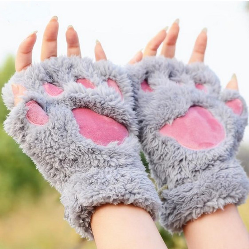 Fluffy Bear/Cat Plush Paw/Claw Kawaii Soft Toweling Lady's Fingerless Femal Gloves Mittens for Girls Half Finger