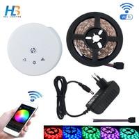 HBL WIFI led strip light Non waterproof 5M 10M 15M 5050 led RGB IP65 led Ribbon +UFO WIFI controller kit for home decoration