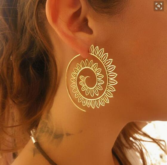 Naomy&ZP Bohemian Round Spiral Drop Earrings Big Ethnic Gold Silver Color Punk Whirlpool Gear Earrings for Women Fashion Jewelry 5