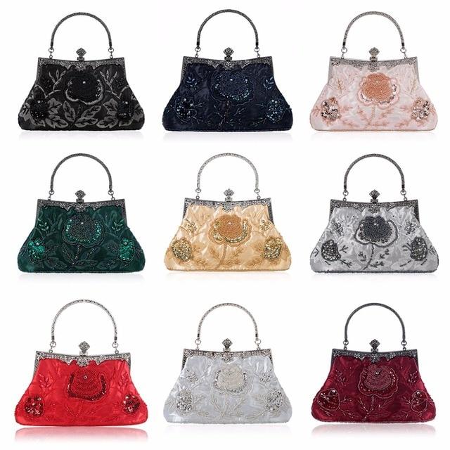 THINKTHENDO  Retro Style Beaded Embroidery Evening Clutch Bag Clutch Bridal Wedding Party Purse Handbag Women Luxury