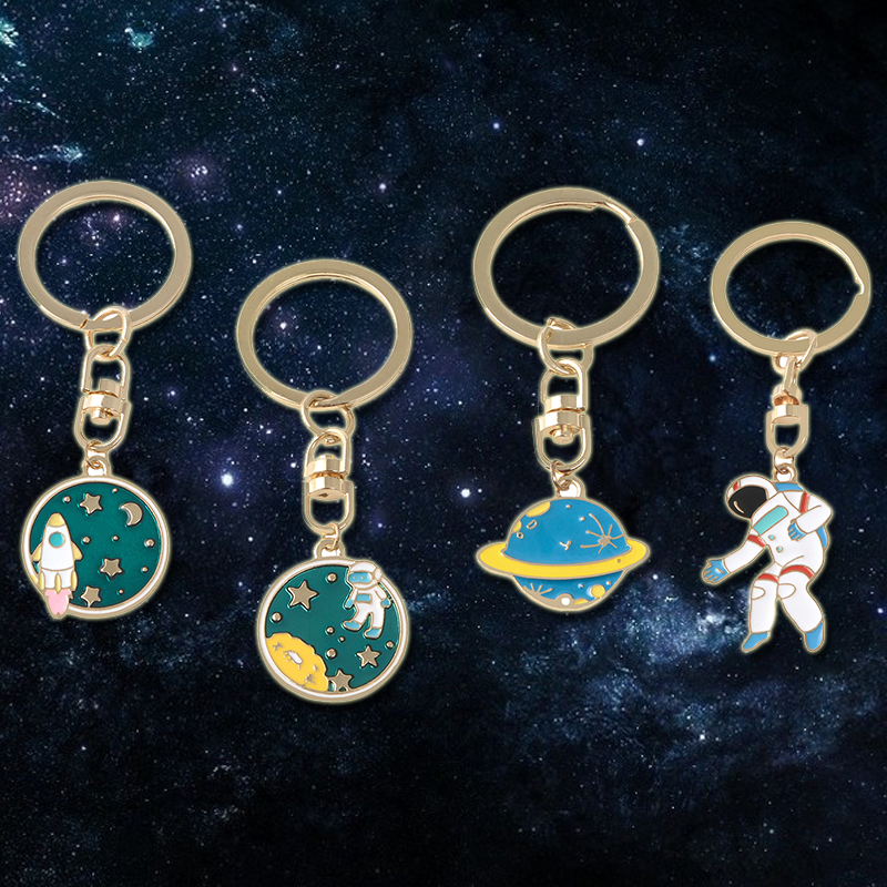 Astronaut Planet Rocket Keychain Metal Key Chains Universe Outer Space Travel Keyring For Children Space Lovers Jewelry Gift