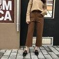 Coreano Senhoras Primavera do vintage de Lã Calças de Comprimento No Tornozelo Cintura Alta Botão Voar Calças Retas Formais Calças