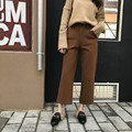 Vintage Korean Ladies Spring Woolen Ankle Length Pants High Waisted Button Fly Formal Straight Pants Trousers