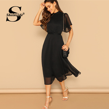 Sheinside Black Elegant Flounce Sleeve Dress Women 2019 Summer Sexy Back Lace Up Midi Dresses Ladies Sheer Mesh Flutter Dress
