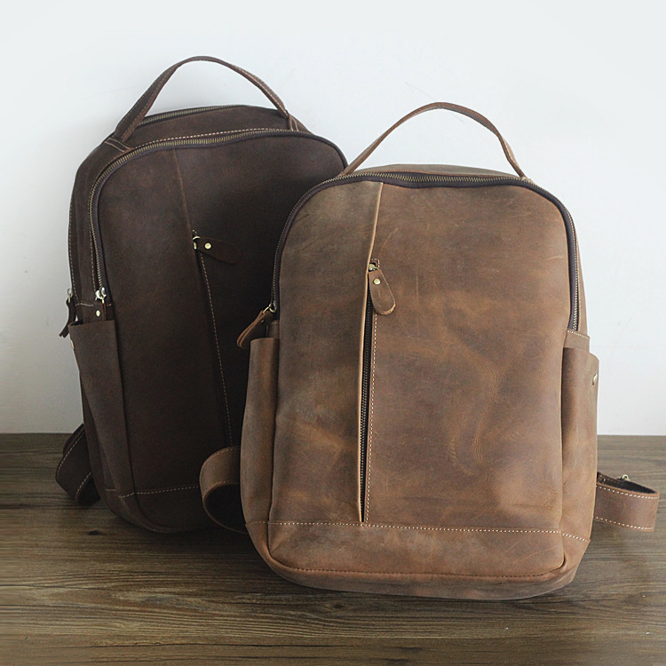 Light Homme Café Solide Cuir Simple Hand De Grand Couleur Made Mâle Ordinateur dark Coffee Coffee Épaule À Vintage Dos Vache Portable Sac Double Véritable trqAwRZr