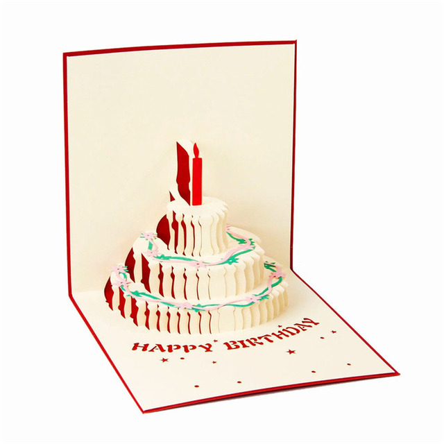 2colors3d Pop Up Birthday Greeting Postcard Gift Card Birthday Cake