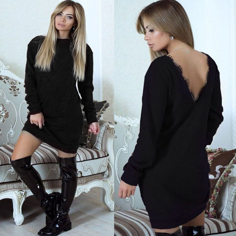 Women Autumn Winter Backless Knitting Sweters Dress Ladies Elegant Lace Party Dresses