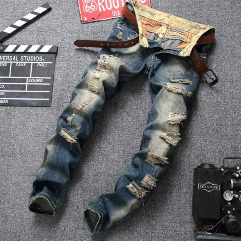 Italian Style Top Brand High Quality New Fashion Mens Big Hole Ripped Long Trousers Slim Fit Casual Straight Jeans Denim Pant jeans men s blue slim fit fashion denim pencil pant high quality hole brand youth pop male cotton casual trousers pant gent life