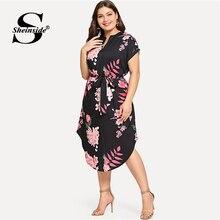 Sheinside Plus Size Elegant Floral Print Straight Belted Dress Women 2019 Summer Casual Roll Up Sleeve Boho Midi Dresses