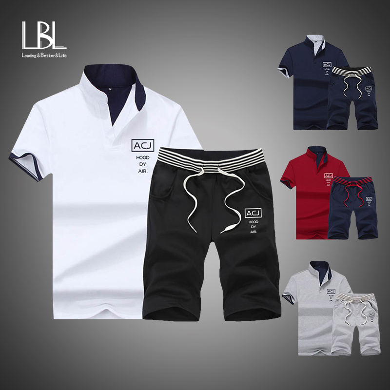 2019 Brand Fitness Suits Summer 2PC Top Short Set Mens Stand Collar Fashion 2 Pieces T-shirt Shorts Tracksuit Sportsuits Set Men