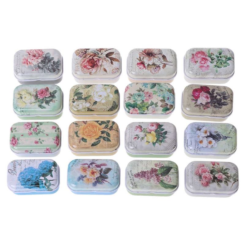 Retro Floral Pattern Metal Tinplate Case Jewelry Pill Candy Storage Box Canister Color Random Delivery-M18
