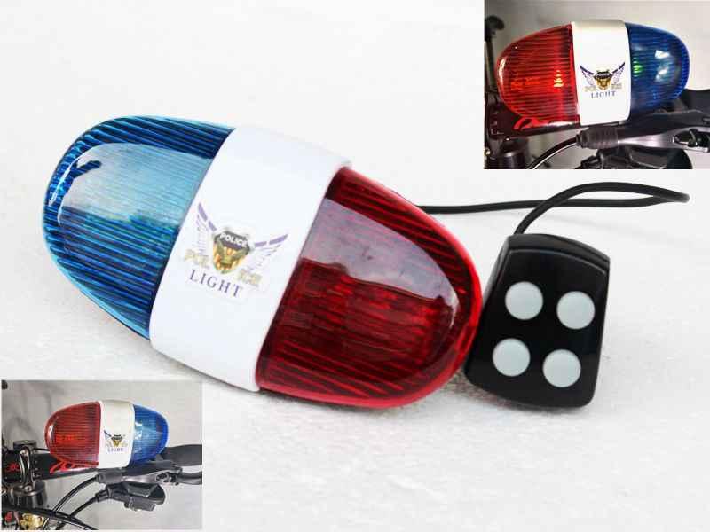 Electronic Bike 6 LED 4 Tone Sounds Horn Bell Police Car NEW Light Siren Trumpet
