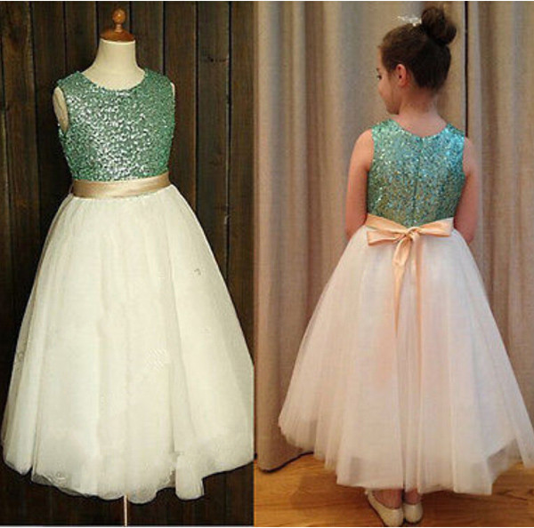 Free Shiping Flower Girls Dresses For Wedding Gowns Ankle-Length Vestido de Daminha Sequined Mother Daughter Dresses With Sashes free shiping flower girls dresses for wedding gown ankle length kids evening gowns tulle mother daughter dresses with sashes