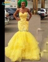 Vestido De Festa Sexy African Lace Appliques Mermaid Evening Prom Gowns Sweetheart Open Back Long Mermaid