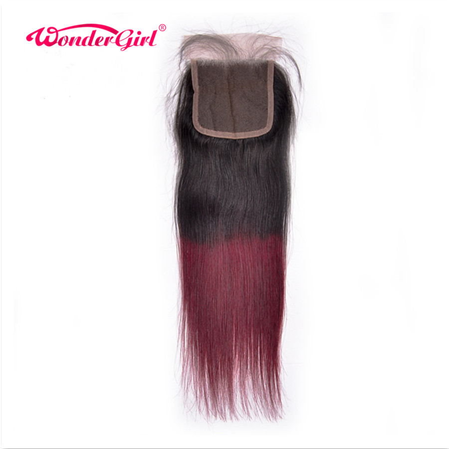1B/99J Brazilian Straight Hair 3 Bundles With Closure Ombre Human Hair Bundles With Closure Non Remy Hair Bundles Wonder girl