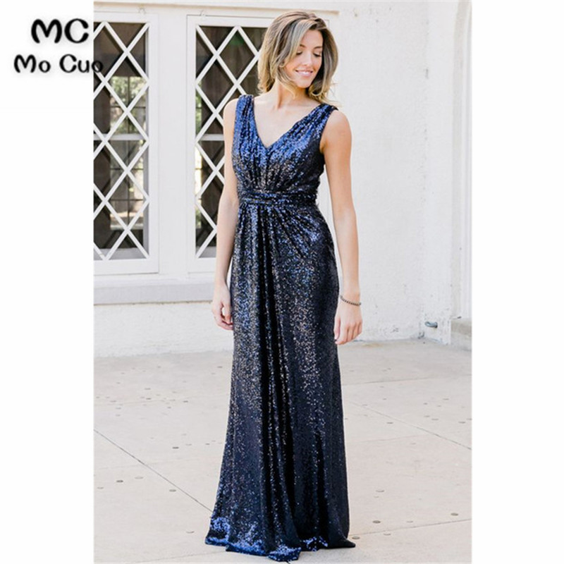 2019 Navy Blue   Bridesmaid     Dress   with Sequined V-Neck Formal Wedding Party   Dress   Sleeveless Custom Made Women   Bridesmaid     Dresses