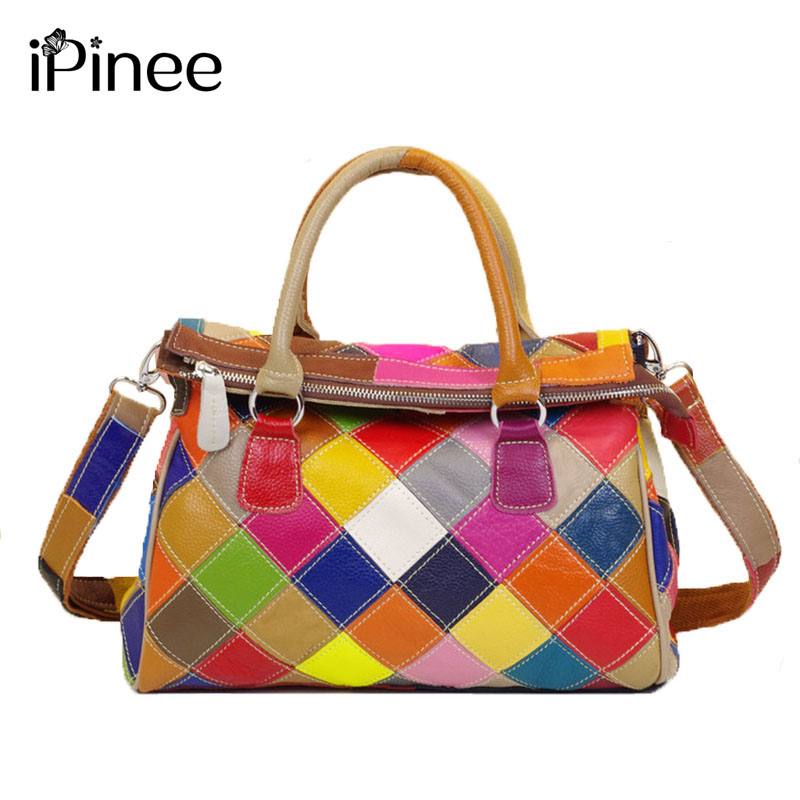 iPinee Hot Sale Ladies Plaid Handbag Real Cowhide Bag Genuine Leather Bags For Women 2017 Brands