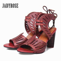 Jady Rose 2017 Summer Women Sandals High Heel Open Toes Sandal Hollow Out Ladies Shoes Gladiator