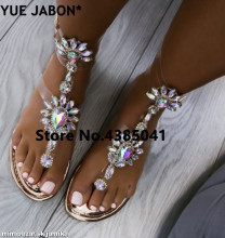 Plus Size 43 2019 Silver woman sandals women Rhinestones Chains Flat Sandals Thong Crystal Flip Flops gladiator
