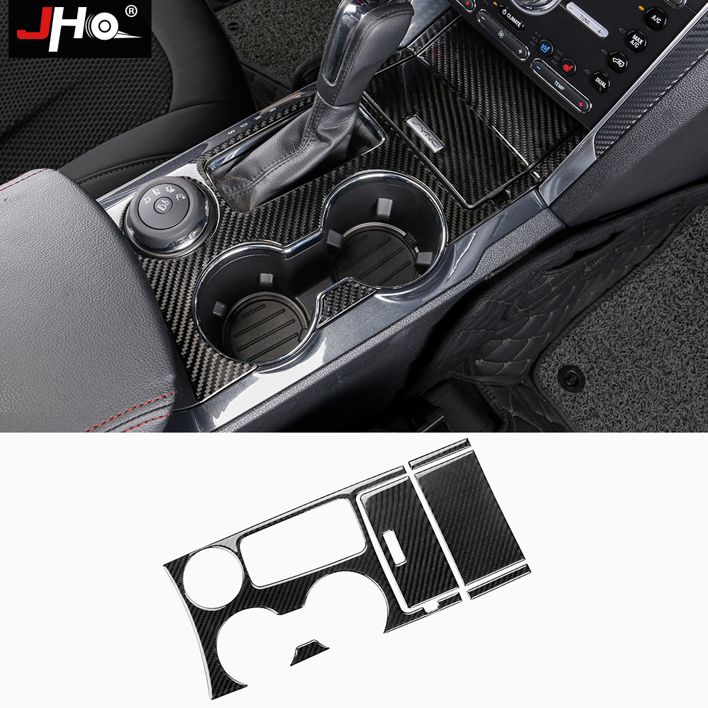 JHO Gear Water Cup Holder Panel Real Carbon Fiber Cover Trim for Ford Explorer 2011-18 12 13 14 15 16 17 Car Styling Accessories цена