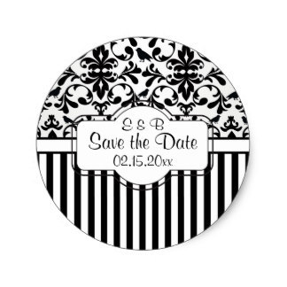 3 8cm black white damask swirls stripes save the date classic round