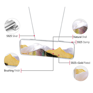 Image 5 - حلي فاخرة مصنوعة يدويًا من الفضة الإسترليني بنسبة 925 على شكل صدفة بحر مصنوعة يدويًا بتصميم جبلي متعدد الأطراف بدون عقد