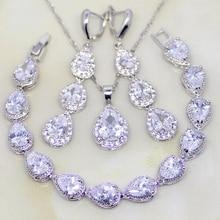 Trendy Water Drop White Cubic Zirconia 925 Sterling Silver Jewelry Sets For Women Wedding Earrings/Pendant/Necklace/Bracelet