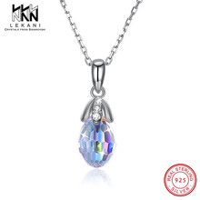 Simple Fashion Tiny Water Drop Necklace Crystals From Swarovski Pendant For Women 925 Sterling Silver Chain Engagement Jewelry цена в Москве и Питере