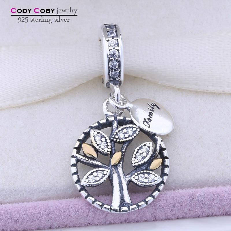 Prix pour D'origine 925 Sterling Argent Famille Arbre Cristal Charms Perles Convient Pandora Bracelet Pendentif Authentique Bijoux pingente berloque