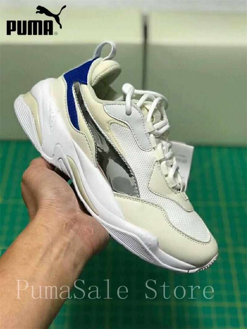 c6414482547 PUMA Mens Thunder Electric Sneakers Men Women Sports Shoes 367998-02  Badminton Shoes Blue Silver Retro Dad Shoes 35.5-44