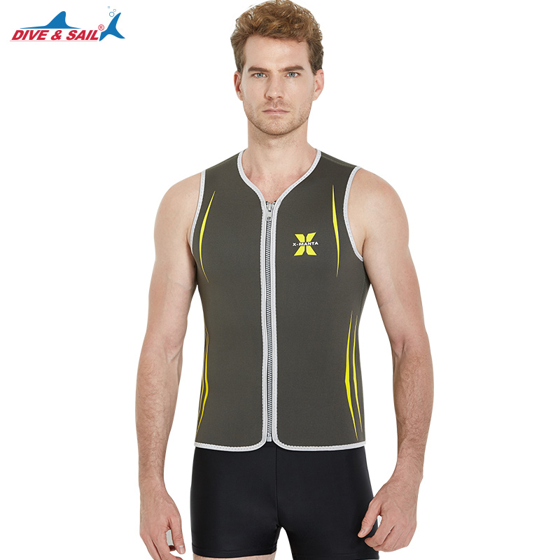 Man 3mm Neoprene Zipper Vest Scuba Diving Wetsuit Mens Sleeveless Wet Suit Top