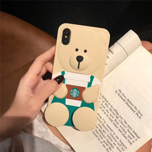 Cartoon Coffee Cup Bear For IPhone X XR XS Max Silicone Case mobile phone shell Apple7 8 6 6s Plus Soft Shell Applicable