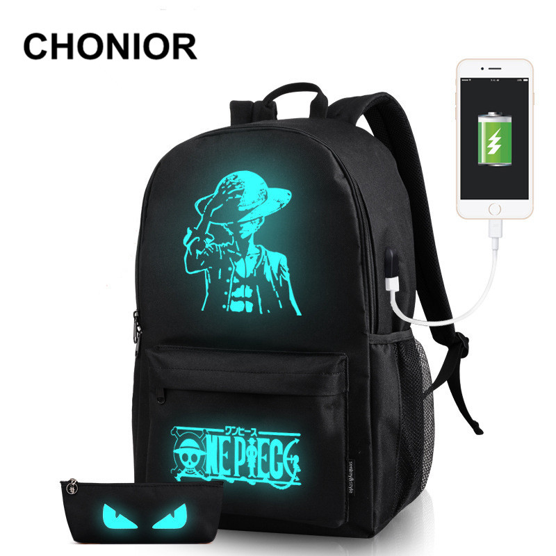 Luminous usb Backpack High Quality School Bags For Teenagers Cartoon Printing Anti-theft Rucksacks For Girls Canvas Backpack high quality anime preppy tokyo ghouls luminous printing canvas travel fashion backpack rucksack school bags for teenagers