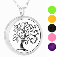 IJP0178 Essential Oil Diffuser Necklace Tree Of Life 316L Stainless Steel Locket With Chain