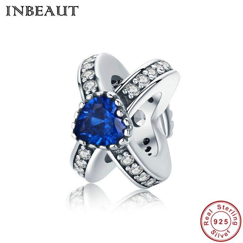 INBEAUT Women Trendy 100% 925 Sterling Silver Dark Blue Pink Heart Shaped Zircon Stone Beads fit Pandora Charm Bracelet
