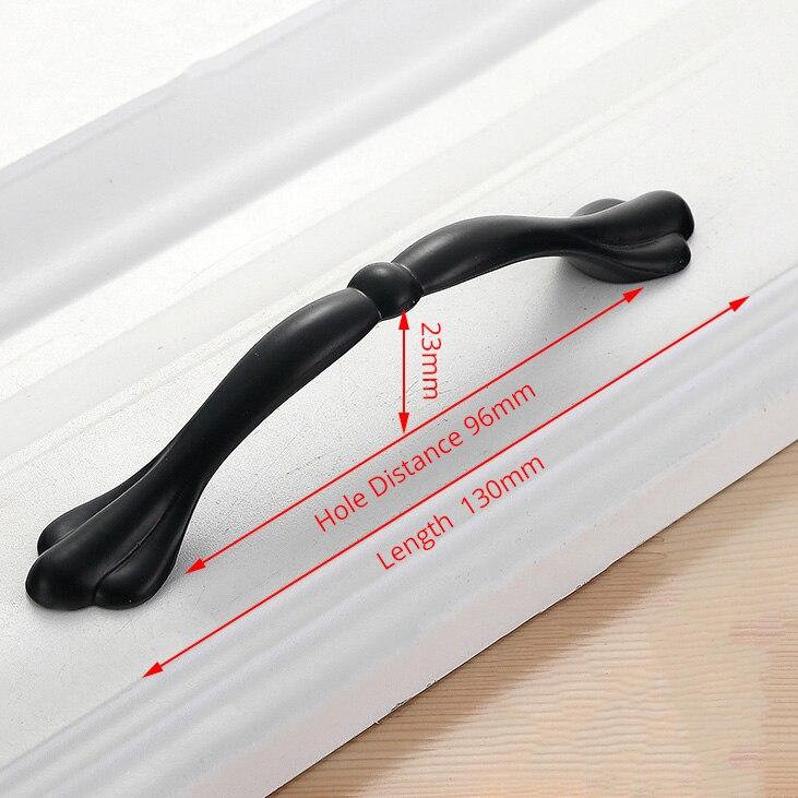 KAK американский стиль черный шкаф ручки цельный алюминиевый сплав кухонный шкаф ручки для выдвижных ящиков оборудование для обработки мебели - Цвет: Handle-LS901C-96
