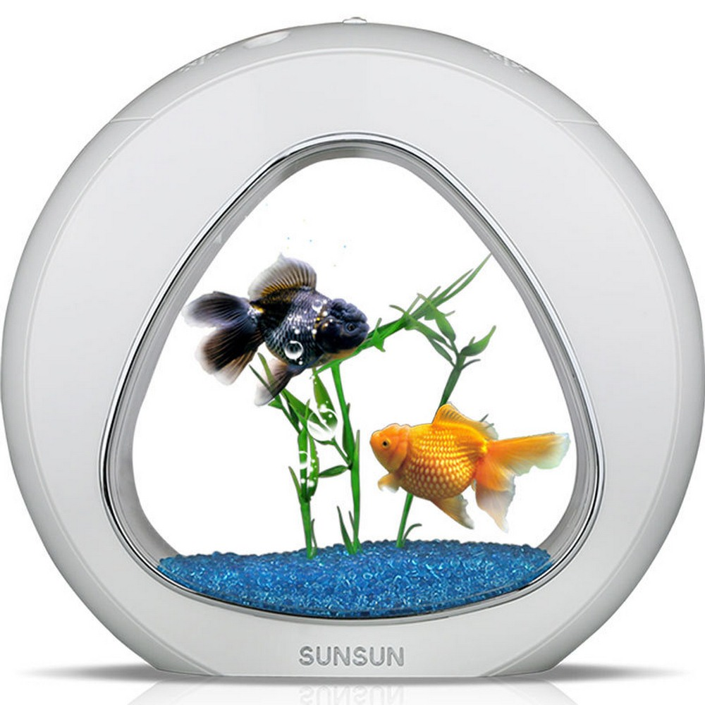 Mini réservoir de poisson Nano écologie intégré filtre et système de lumière LED intégration par USB avec votre ordinateur déplacer la batterie