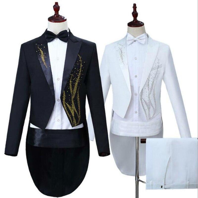 Hot hommes performance robe chaude algues couleur diamant smoking noir blanc magicien vocal chanteur commande uniforme cadeau ensemble